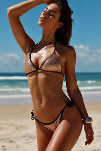 Vegas Gold & Black Fixed Triangle Sequin Bikini Top image