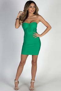 """All About Me"" Green Sweetheart Bandage Mini Dress image"