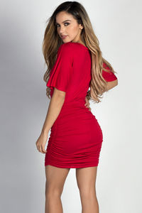 """""""Hannah"""" Red Dolman Sleeve Ruched Jersey Dress image"""