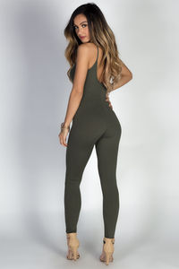 """Work It Out"" Olive Spaghetti Strap Jersey Catsuit Jumpsuit image"