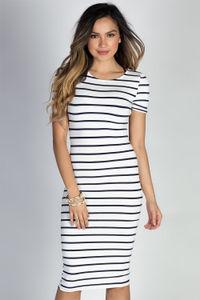 """Jamie"" White & Navy Striped Short Sleeve Bodycon T Shirt Midi Dress image"