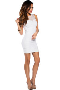 """Lola"" White Bodycon Lace Cut Out Tank Mini Dress image"