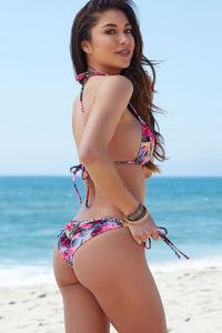 Lilac Tropical Print Triangle Bikini Top image