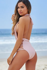 Zinnia Pink Plunging Halter Neckline High Waisted Swimsuit image
