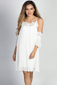 """Esperanza"" White Pleated Chiffon & Lace Off Shoulder Trapeze Dress image"