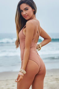 Chamomile Dusty Rose Plunging Crisscross Cut Out One Piece image