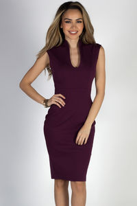 """Respect"" Eggplant Classy Sleeveless Fitted Sheath Dress image"