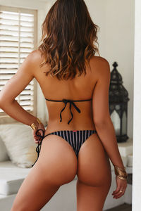 Black Sheer Obsession Brazilian Bottom w/ Gold Loop Accents image