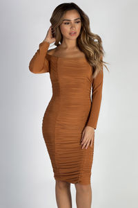 """""""More Than You Know"""" Terracotta Off Shoulder Ruched Long Sleeve Dress image"""