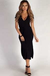 """Next To You"" Black Ribbed Wrap Dress image"