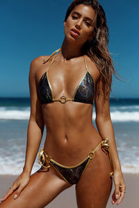 Panama Black Snake & Gold Side Loops Bikini Bottom image