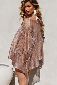 Illustrious Rose Gold Metallic Knit Crochet Fringed Poncho image
