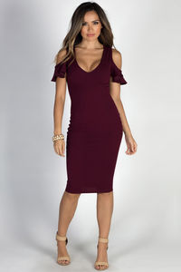 """Midnight in Paris"" Burgundy Cold Shoulder Flutter Sleeve Midi Dress image"