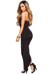 """""""Isana"""" Black Strapless Cut Out Draped Maxi Gown image"""