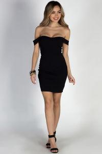 """My Moment"" Black Off Shoulder Bodycon Sheath Dress image"