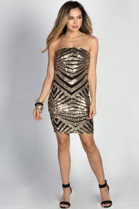 """""""Clarissa"""" Gold Geo Pattern Strapless Sequin Cocktail Dress image"""