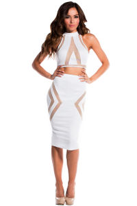 """""""Tori"""" Pure White Illusion Mesh Cut Out Halter Crop Top Two Piece Dress image"""