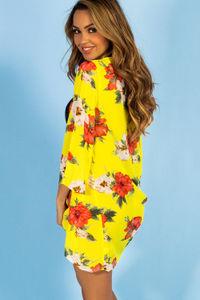 Royal Hawaiian Neon Yellow Floral Print Bell Sleeve Chiffon Kimono Cover Up  image