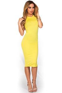 Yellow High Neck Sleeveless Midi Dress  image
