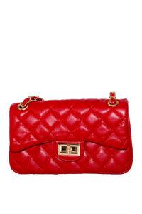 Red Leather Diamond Stitch Bag image