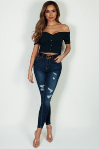 """Live, Love, Shine"" Dark Blue Distressed Push-Up Skinny Jeans image"