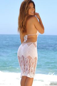 Passion Flower White Backless Crochet Midi Dress Cover Up image
