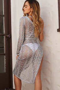 Silver Sheer Metallic Crochet One Shoulder Cover Up image