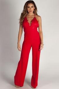 """""""Never Be Yours"""" Red Lace Top Jumpsuit image"""