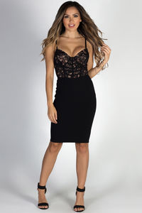 """Gentle Kisses"" Black Lace Bustier Bodice Cocktail Midi Dress image"
