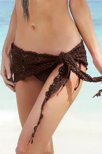 Cuba Libre Brown Mini Crochet Sexy Sarong Beach Cover Up image