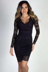 """Champs-Élysées"" Black Long Sleeve Lace Dress image"