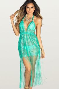 Sweet Dream Mint Lace Fringe Halter Beach Dress Cover Up image