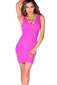 """Callie"" Magenta V Neck Bodycon Tank Mini Dress image"