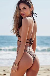 Leopard & Black Center Loop Wrap Around Bikini Top image