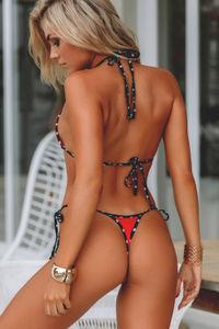 Red & Black Polka Dot G-String Thong Bikini Bottom  image