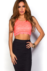 """""""Gloriana"""" Neon Coral Sleeveless Floral Lace Crop Top image"""