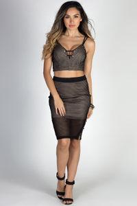"""""""Let's Dance"""" Black Mesh Net Lace Up Two Piece Dress image"""