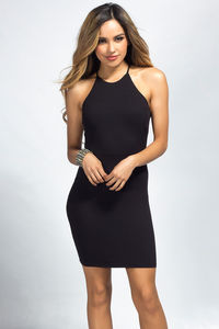 """""""Demi"""" Black Backless Jersey Halter Dress with a Twist image"""