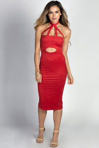 """Shari"" Cherry Red Ultrasuede Cut Out Halter Midi Dress image"