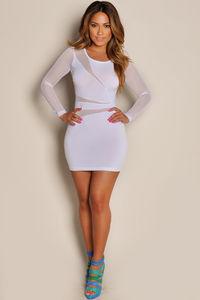 """Cherise"" White See Through Mesh Long Sleeve Mini Dress image"