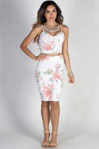 """Paradise City"" White Floral Print Two Piece Midi Dress image"