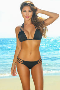 Solid Black Triple Strap Triangle Bikini Top image