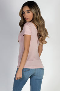 """Pure Bliss"" Blossom Crisscross Rounded Short Sleeve Top image"