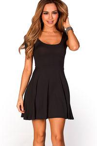 """Brynn"" Black A-Line Empire Waist Casual Short Sleeve Dress image"