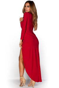 """Irene"" Red Long Sleeve Maxi Dress with Plunging Neckline image"