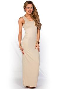"""Qadira"" Nude Casual Racerback Jersey Maxi Dress image"