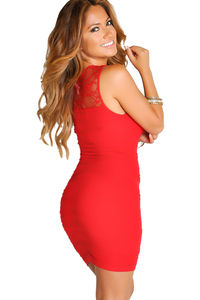 """""""Lola"""" Red Bodycon Lace Cut Out Tank Mini Dress image"""