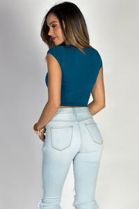Simple Teal Blue Tee Jersey Fashion Crop Top image