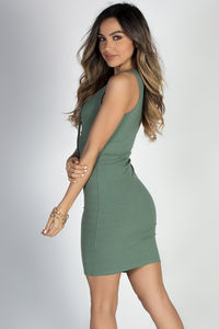 """Crazy in Love"" Sage Green Sexy Bodycon Lace Up Tank Dress image"