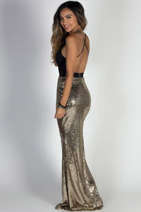 """""""Glamour Girl"""" Black & Gold Sequin Mermaid Maxi Gown image"""